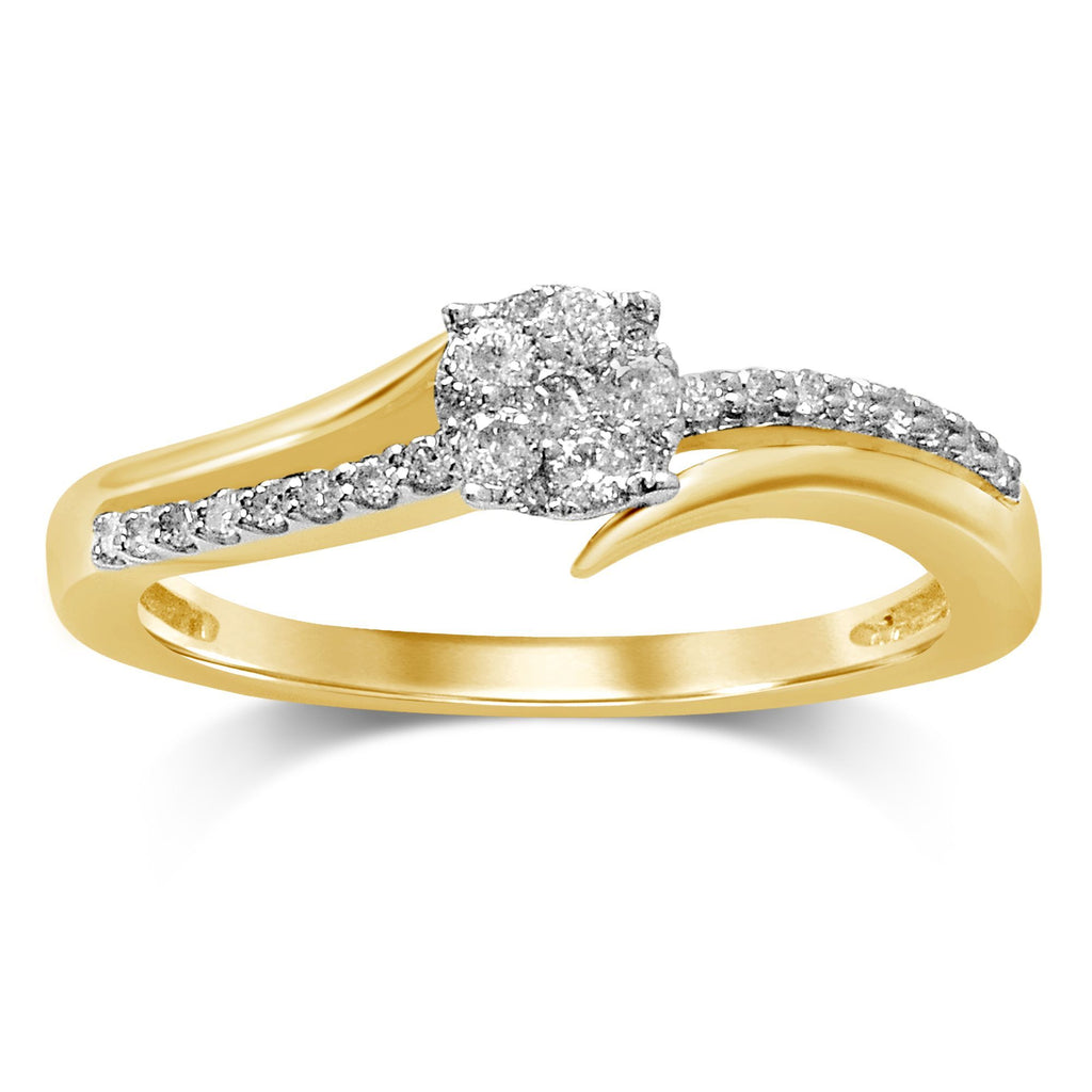 Composite Sweep Ring with 1/4ct of Diamonds in 9ct Yellow Gold Rings Bevilles