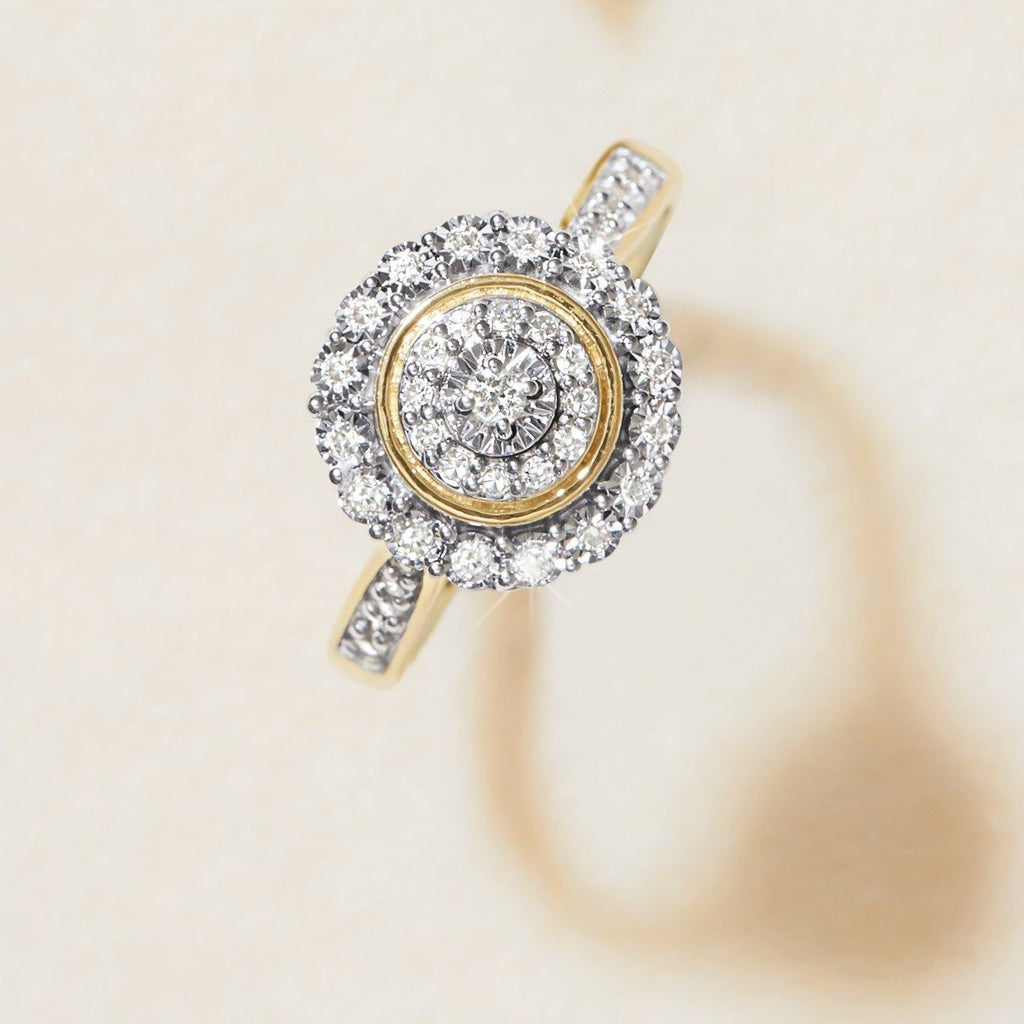Brilliant Illusion Miracle Plate Halo Ring with 1/5ct of Diamonds in 9ct Yellow Gold Rings Bevilles