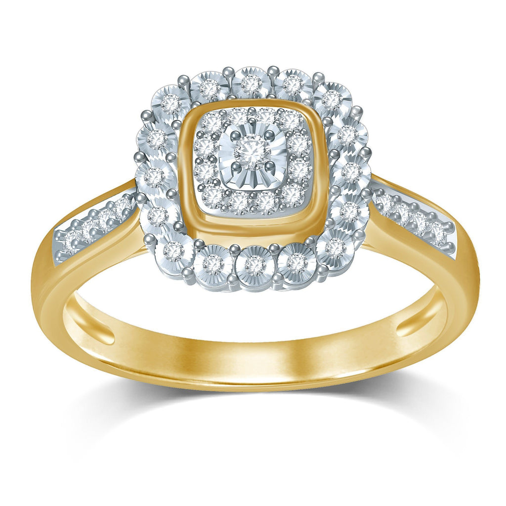 Double Square Miracle Halo Ring with 1/5ct of Diamonds in 9ct Yellow Gold Rings Bevilles
