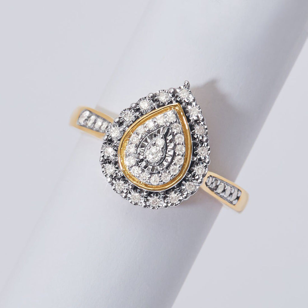 Miracle Double Halo Pear Ring with 1/5ct of Diamonds in 9ct Yellow Gold Rings Bevilles