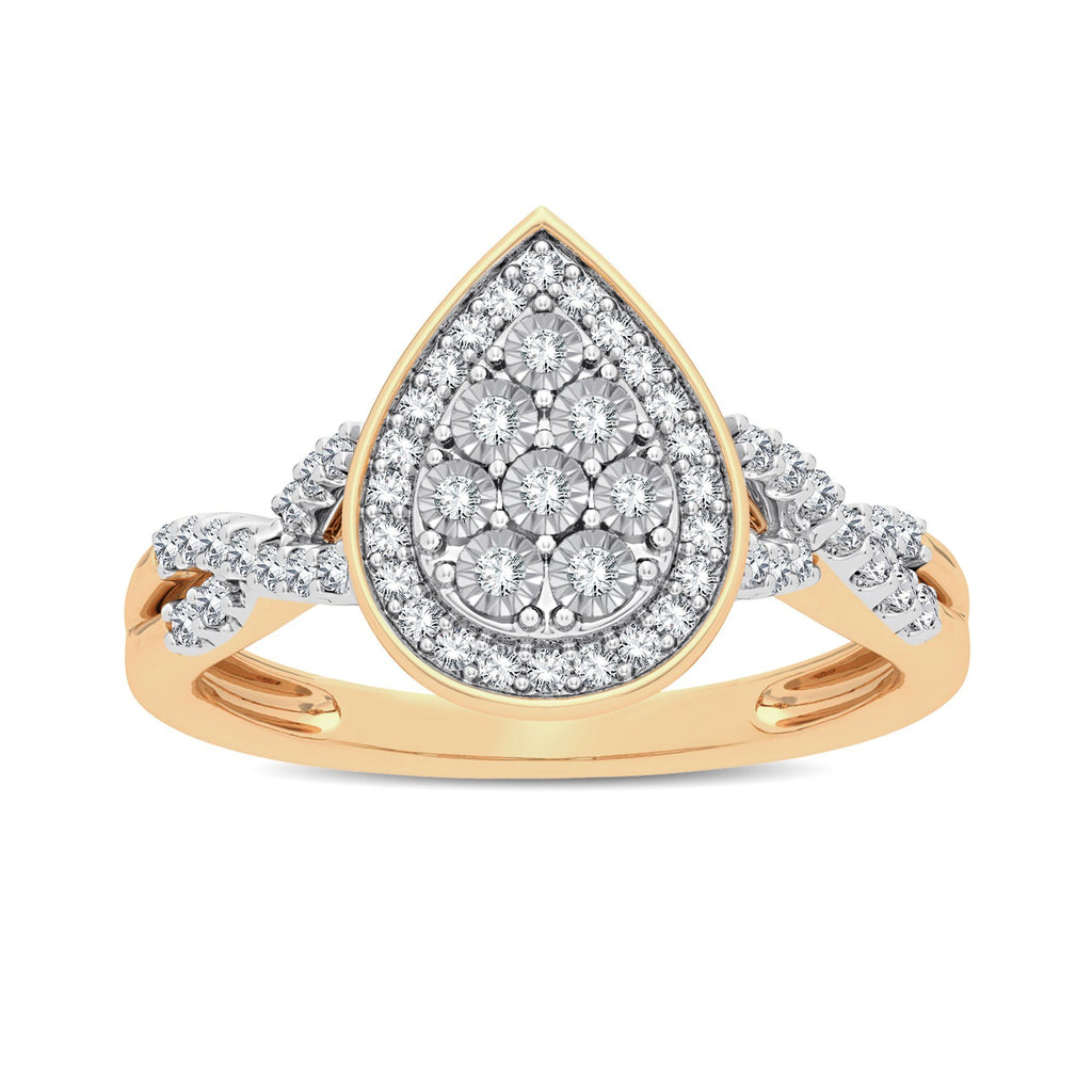 Miracle Plate Halo Pear Ring with 1/5ct of Diamonds in 9ct Yellow Gold Rings Bevilles