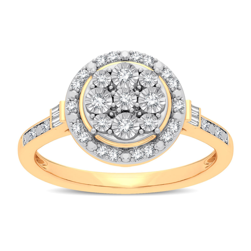 Halo Ring with 1/5ct of Diamonds in 9ct Yellow Gold Rings Bevilles