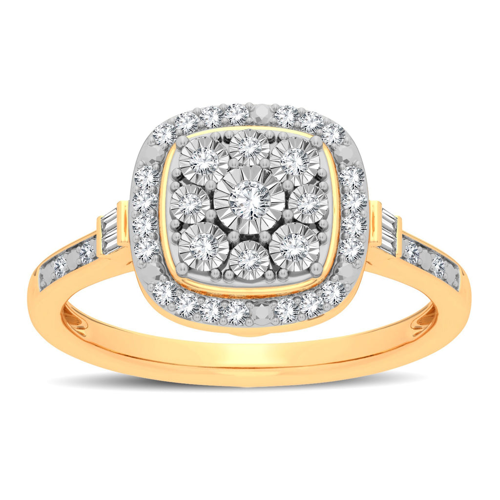 Halo Cushion Shape Ring with 1/5ct of Diamonds in 9ct Yellow Gold Rings Bevilles