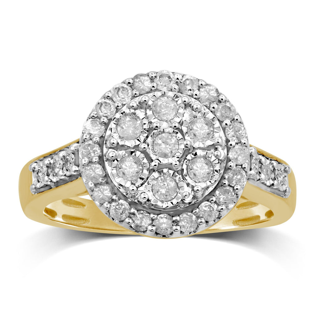 Miracle Halo Ring with 1/2ct of Diamonds in 9ct Yellow Gold Rings Bevilles