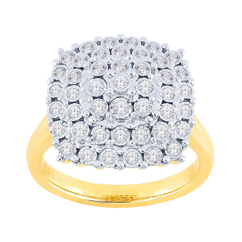 Brilliant Miracle Cluster Ring with 1/2ct of Diamonds in 9ct Yellow Gold Rings Bevilles