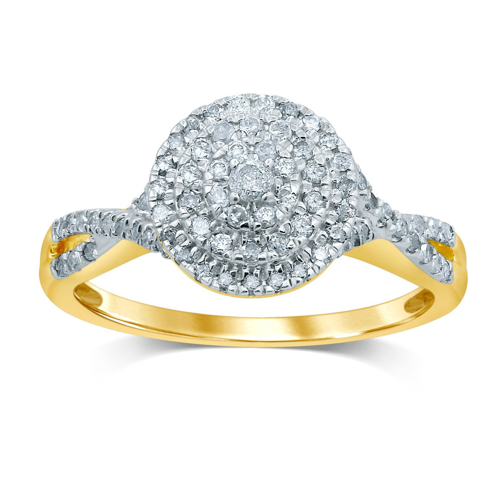 Brilliant Halo Crossover Ring with 1/2ct of Diamonds in 9ct Yellow Gold
