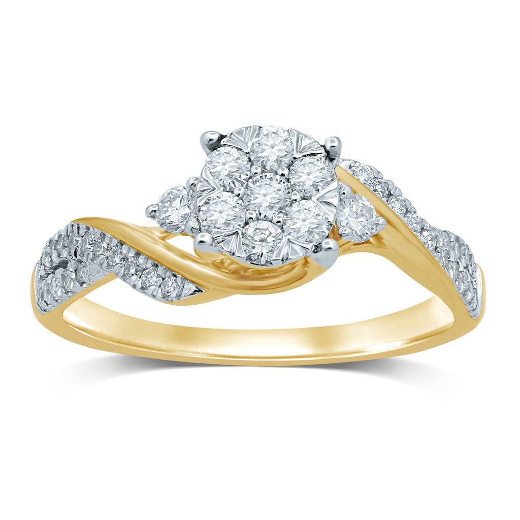 Solitaire Look Ring with Brilliant Claw Sweep with 1/2ct of Diamonds in 9ct Yellow Gold Rings Bevilles