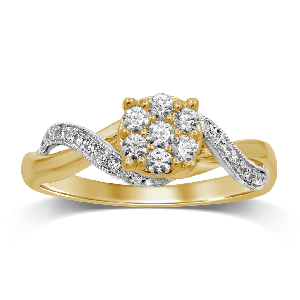 Cluster Ring with 0.40ct of Diamonds in 9ct Yellow Gold Rings Bevilles
