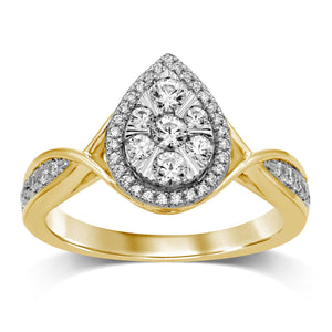 Halo Pear Ring with 1/2ct of Diamonds in 9ct Yellow Gold