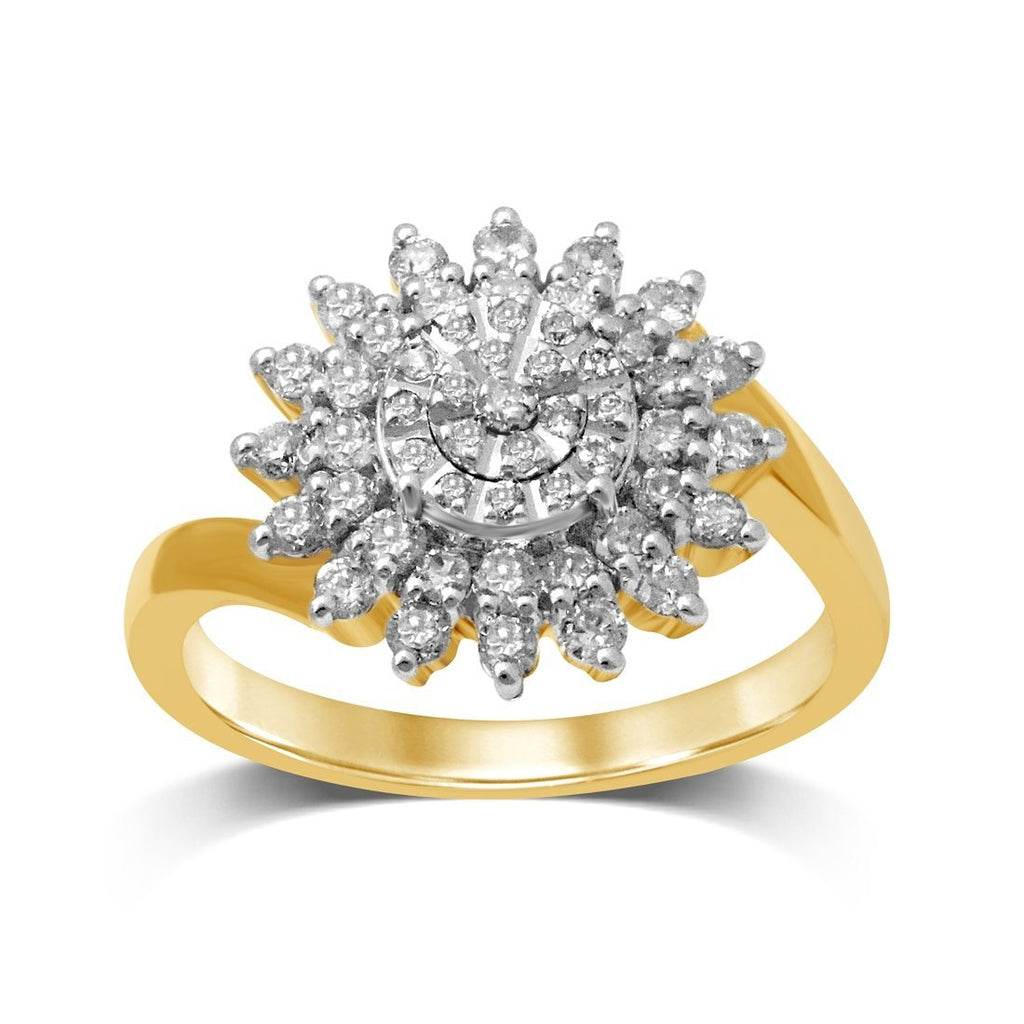 Flower Halo Ring with 0.60ct of Diamonds in 9ct Yellow Gold