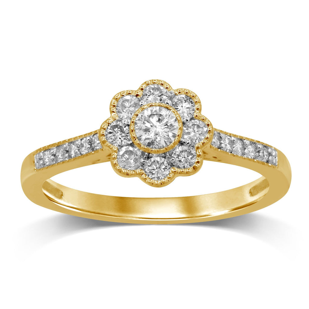 Brilliant Flower Ring with 0.40ct of Diamonds in 9ct Yellow Gold Rings Bevilles