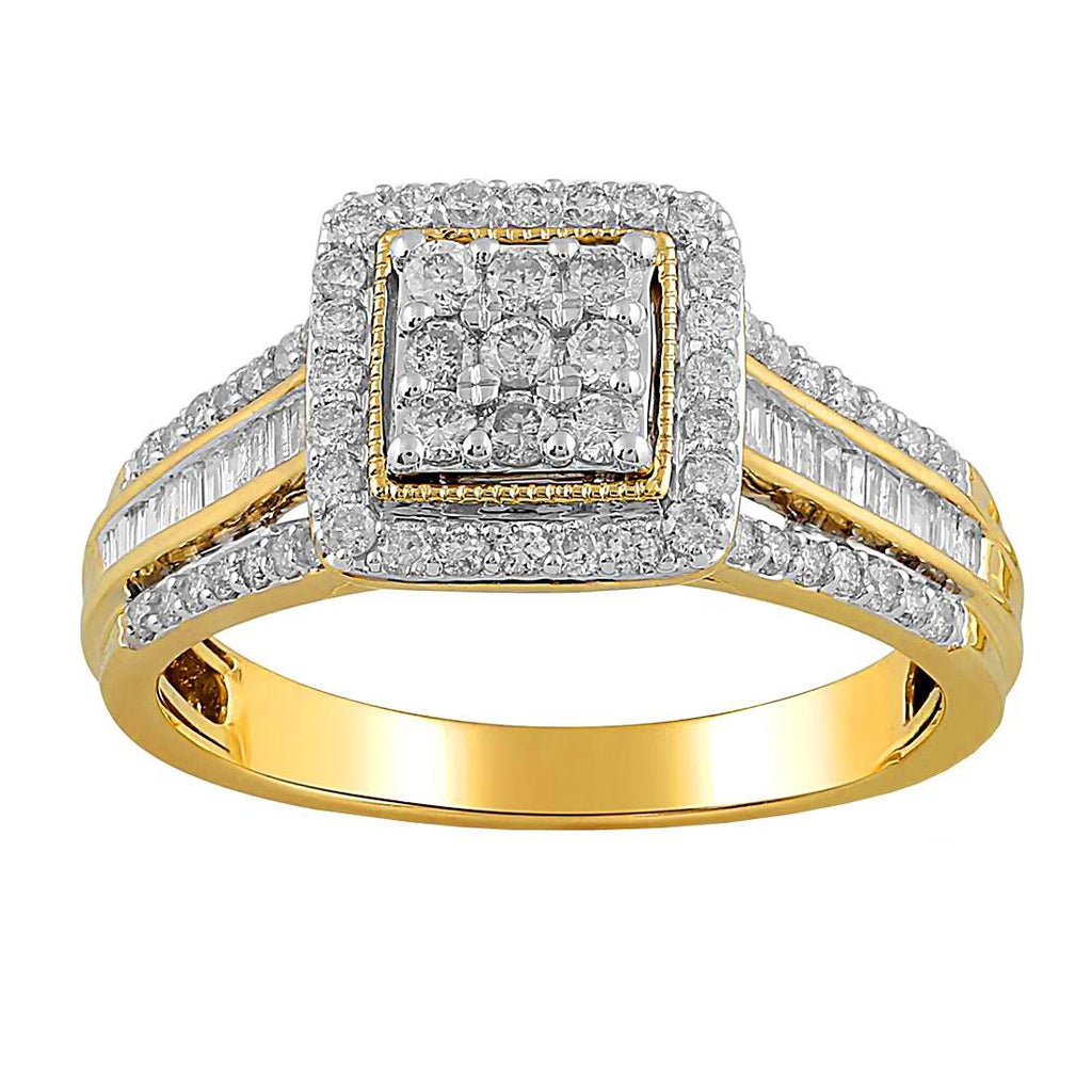 Brilliant Square Ring with 3/4ct of Diamonds in 9ct Yellow Gold Rings Bevilles