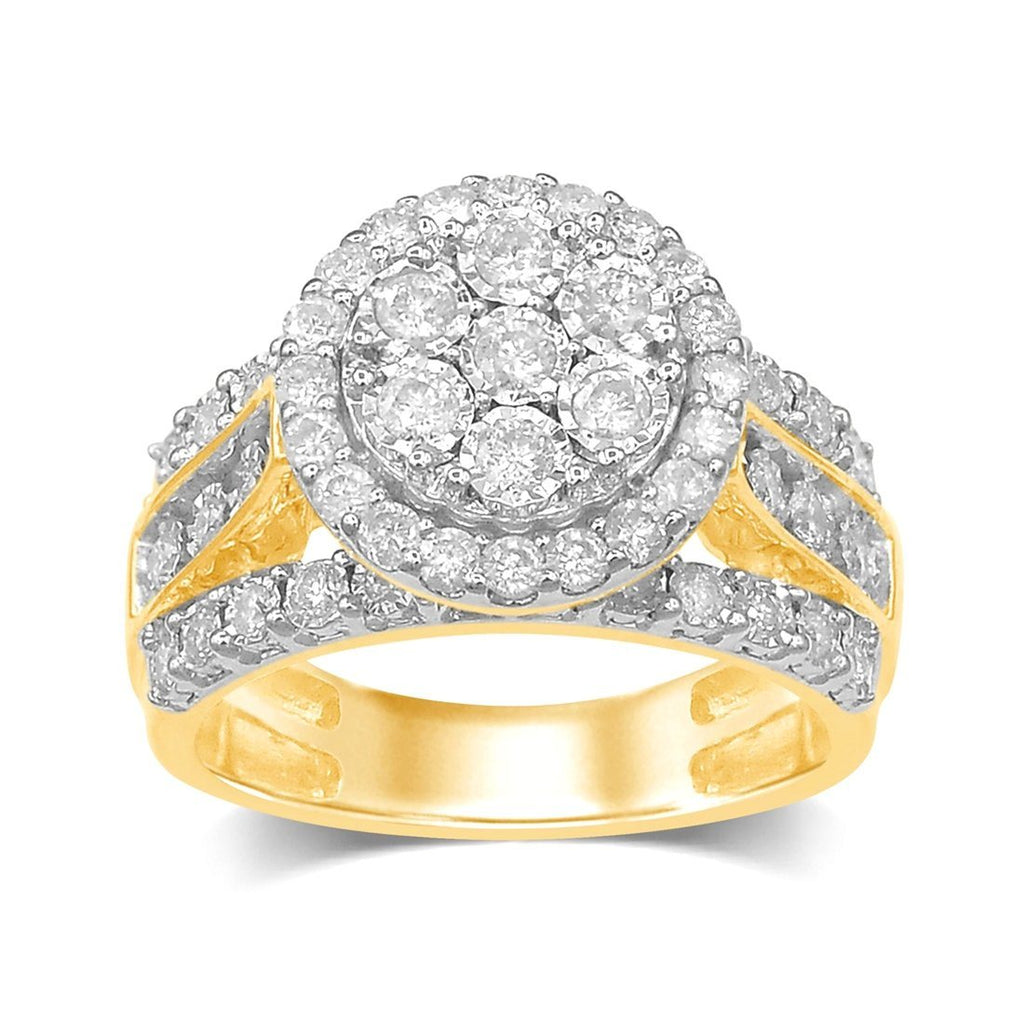 9ct Yellow Gold 1.00ct Brilliant 3 Row Halo Diamond Ring Rings Bevilles