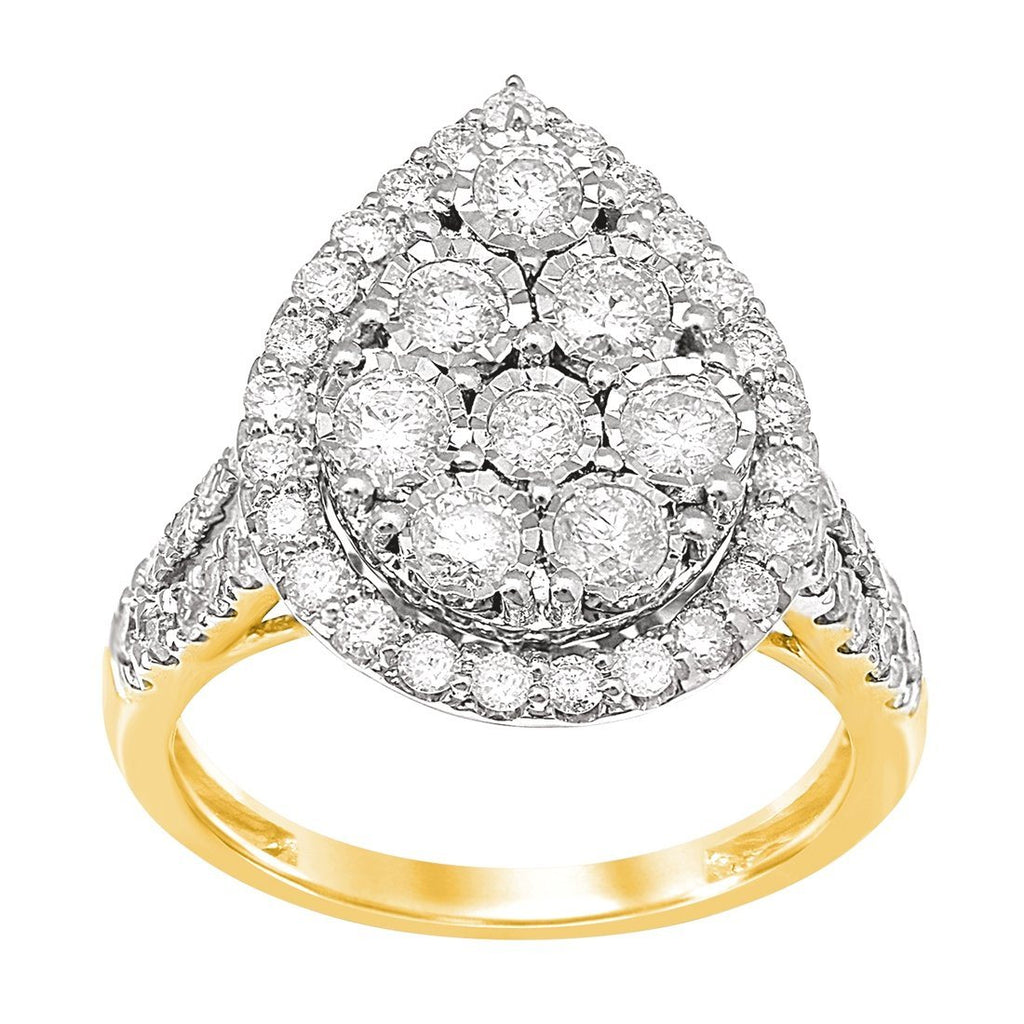 Miracle Pear Shape Ring with 1.00ct of Diamonds in 9ct Yellow Gold Rings Bevilles