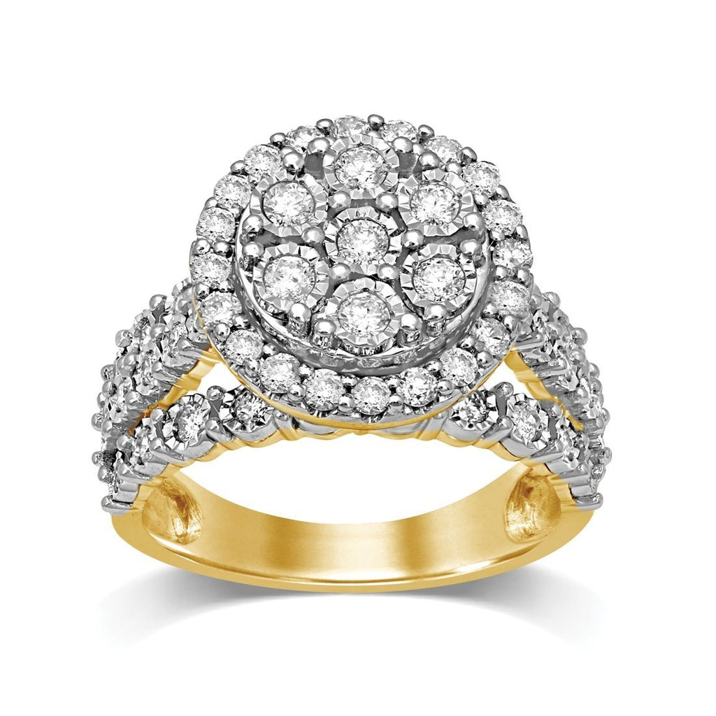 Brilliant Miracle Halo Ring with 1.00ct of Diamonds in 9ct Yellow Gold Rings Bevilles