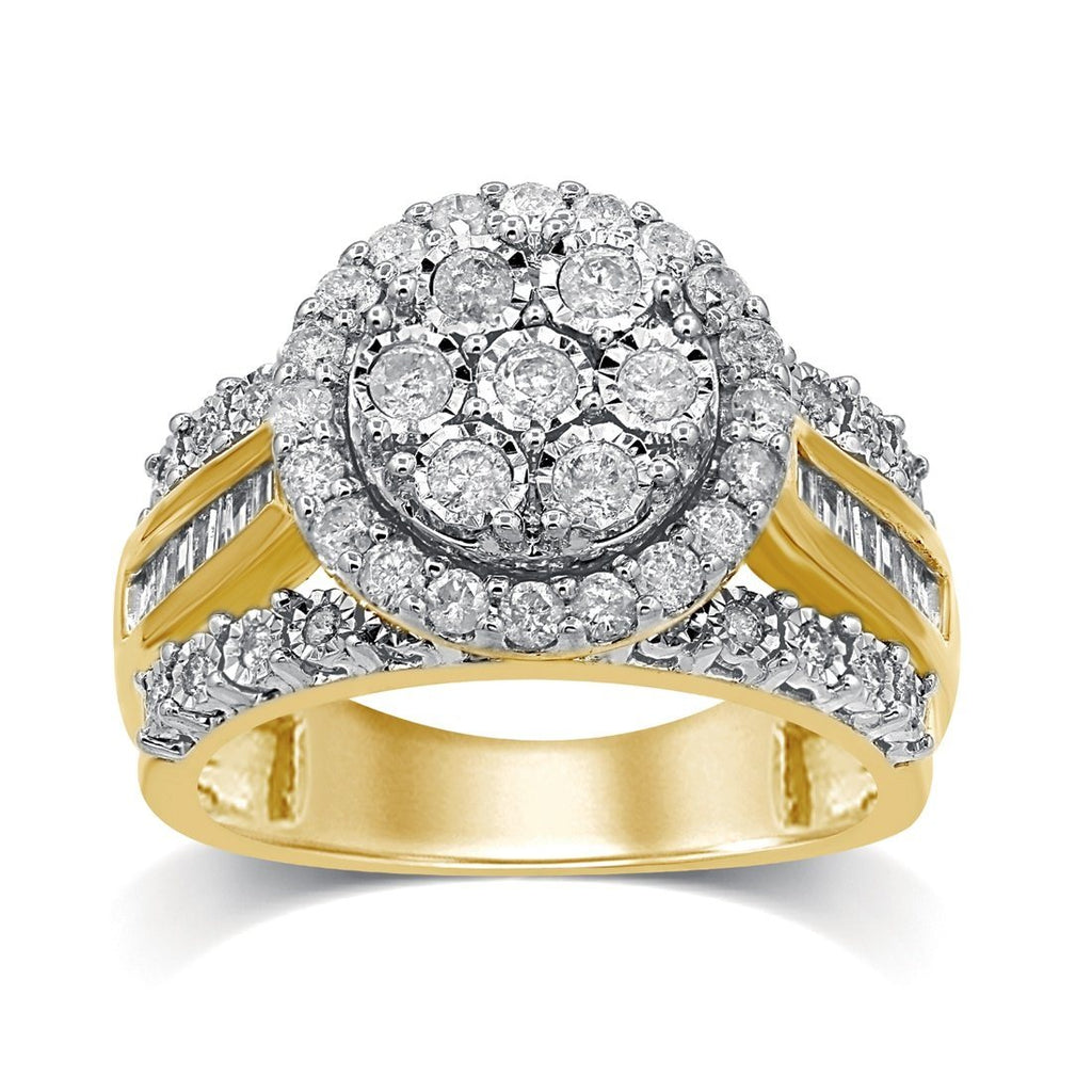 9ct Yellow Gold 1.00ct Diamond Brilliant Miracle Cluster Ring Rings Bevilles