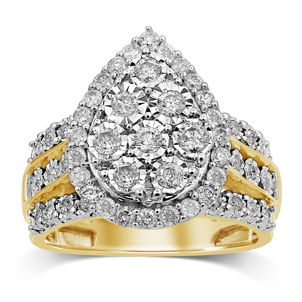 Miracle Pear Shape Ring with 1.00ct of Diamonds in 9ct Yellow Gold