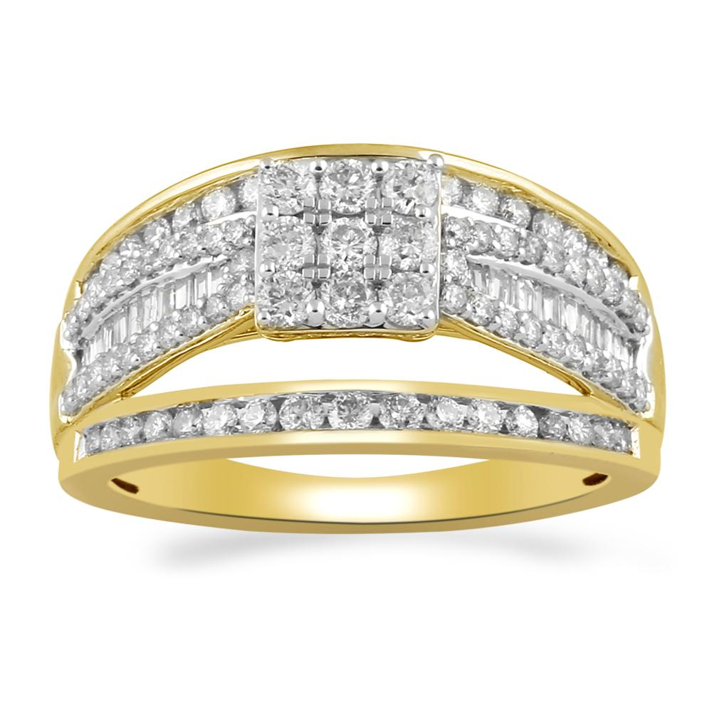 Brilliant Claw Square Look Ring with 1.00ct of Diamonds in 9ct Yellow Gold Rings Bevilles