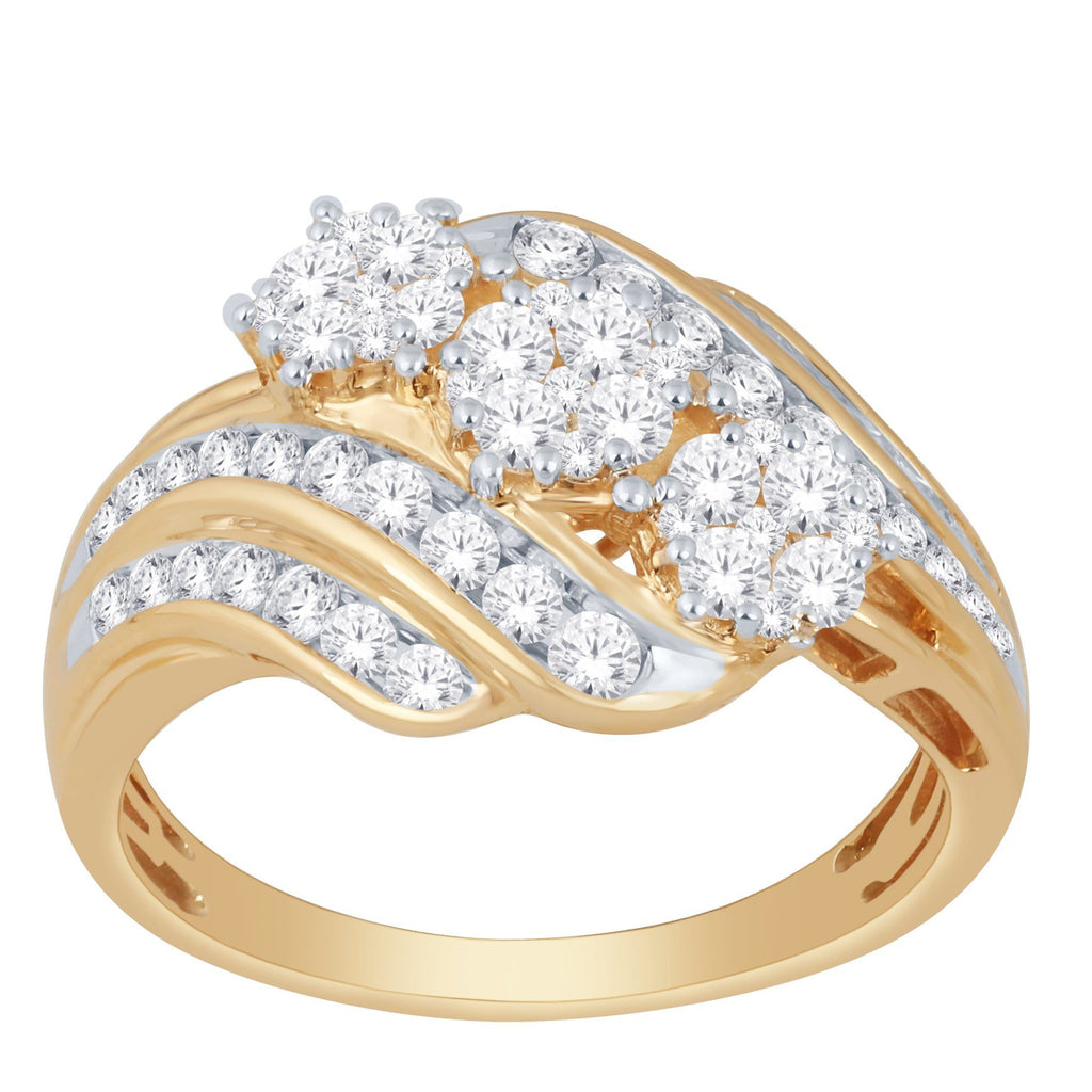 Brilliant Flower Sweep Ring with 1.00ct of Diamonds in 9ct Yellow Gold Rings Bevilles