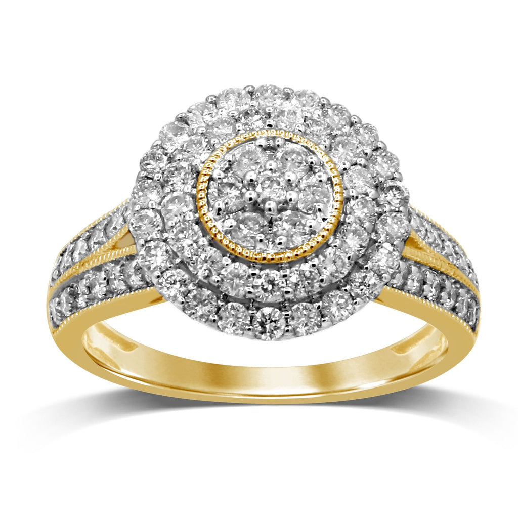 Brilliant Set Double Halo Ring with 1.00ct of Diamonds in 9ct Yellow Gold Rings Bevilles