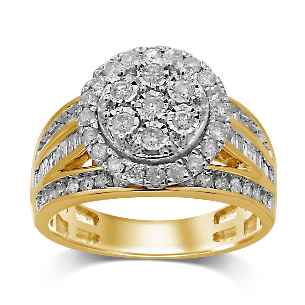 Brilliant Halo Baguette Channel Ring with 1.00ct of Diamonds in 9ct Yellow Gold Rings Bevilles