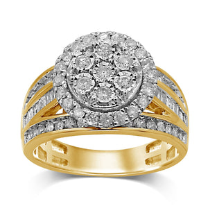 Brilliant Halo Baguette Channel Ring with 1.00ct of Diamonds in 9ct Yellow Gold