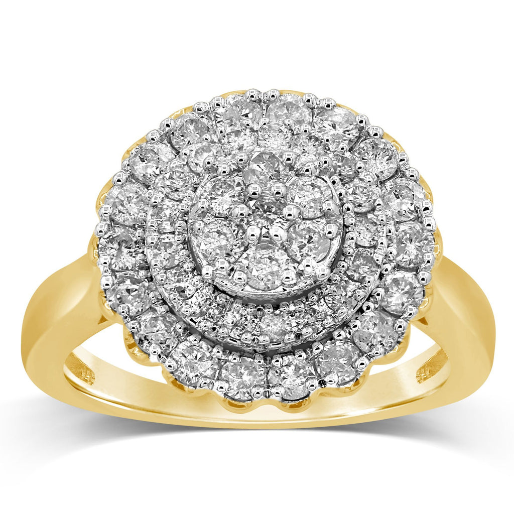 Brilliant Cluster Ring with 1.00ct of Diamonds in 9ct Yellow Gold Rings Bevilles