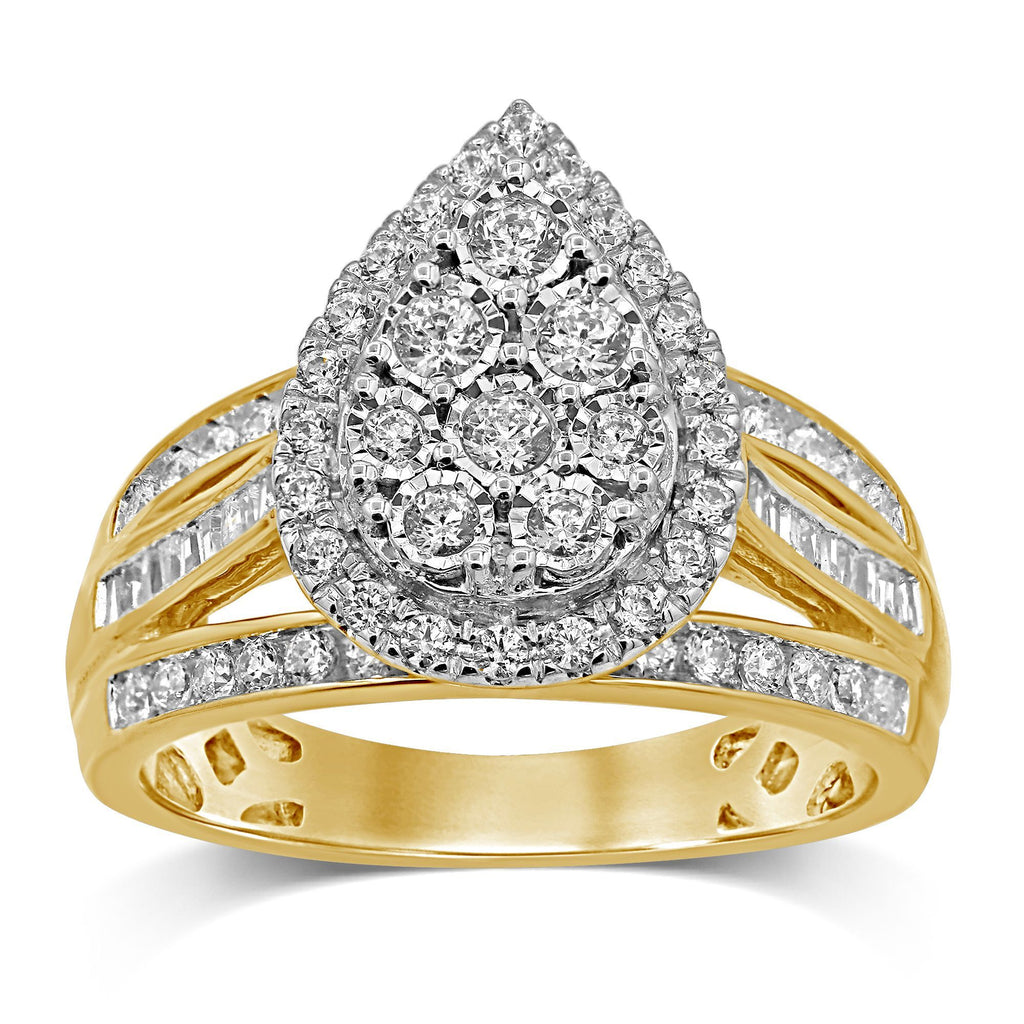 Miracle Pear Halo Ring with 1.00ct of Diamonds in 9ct Yellow Gold Rings Bevilles