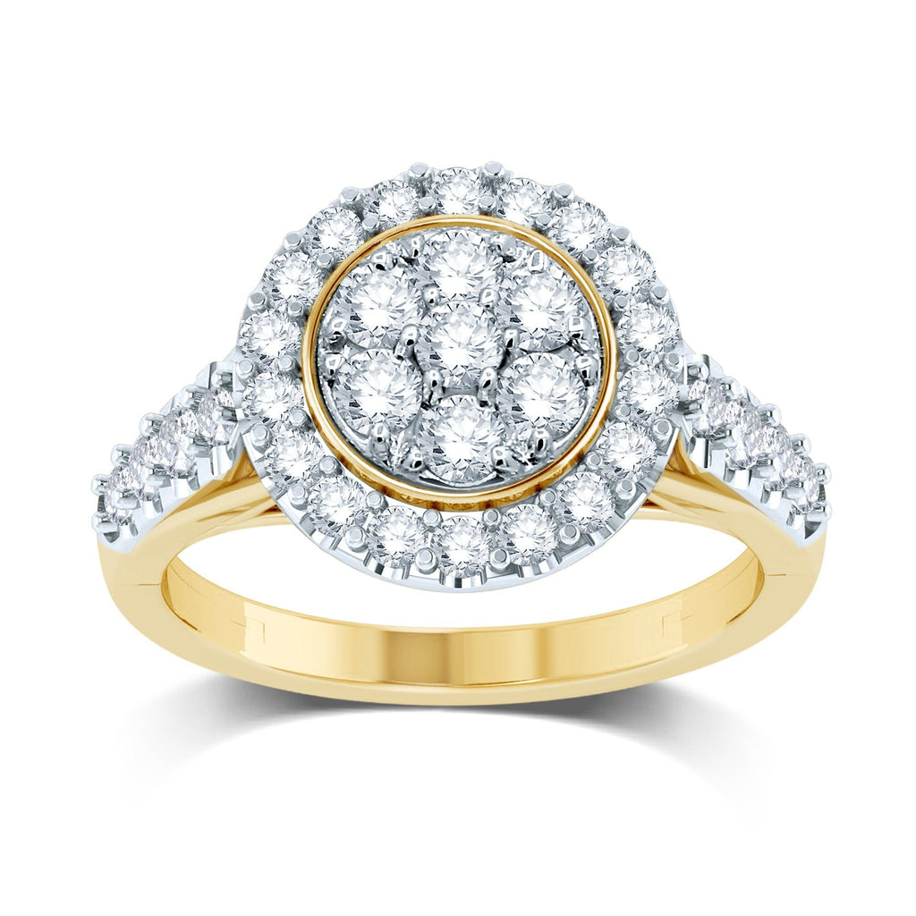 Composite Halo Ring with 1.00ct of Diamonds in 9ct Yellow Gold Rings Bevilles
