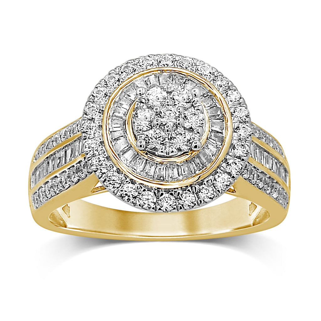 Halo Ring with 1.00ct of Diamonds in 9ct Yellow Gold Rings Bevilles