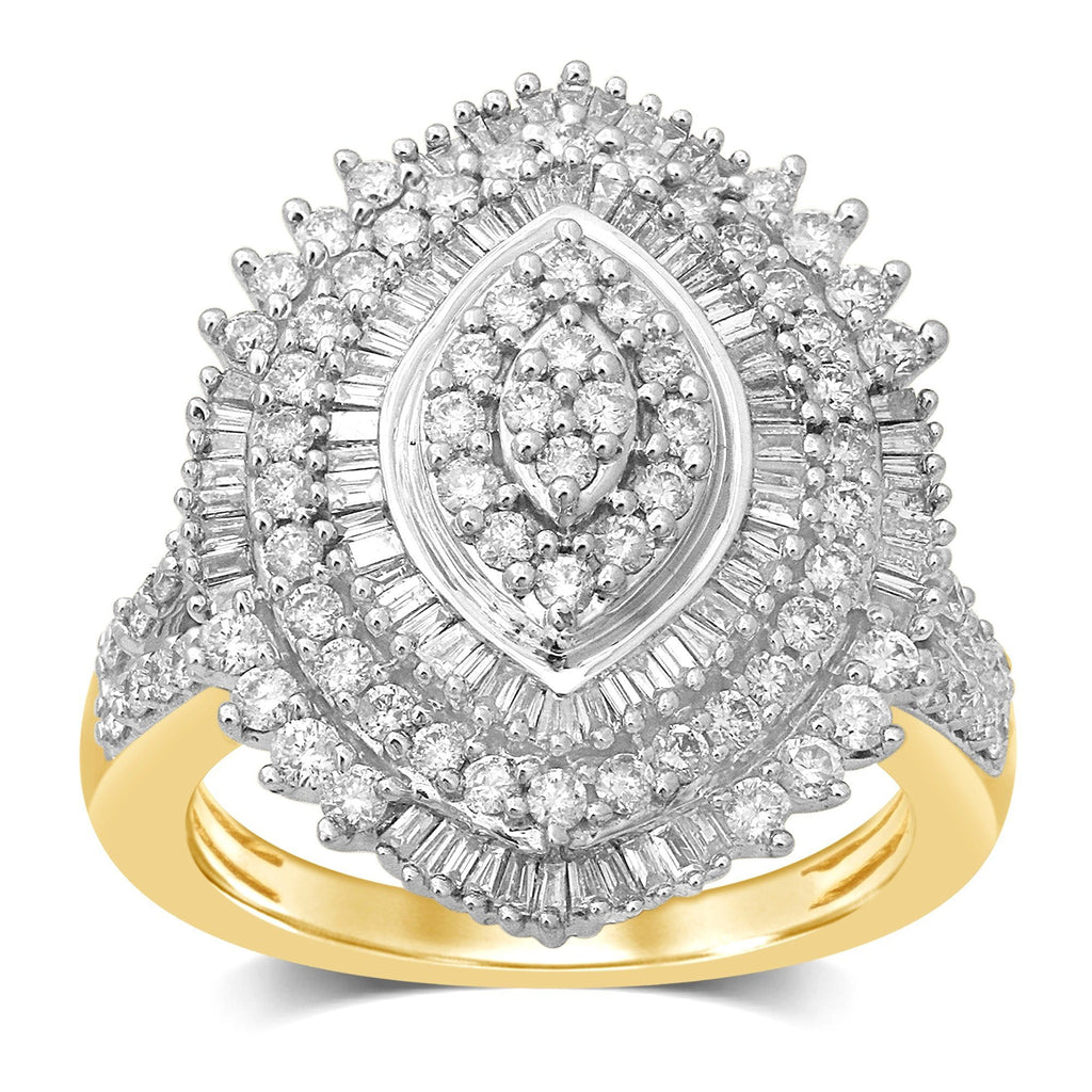 Composite Marquise Shape Ring with 1.50ct of Diamonds in 9ct Yellow Gold Rings Bevilles