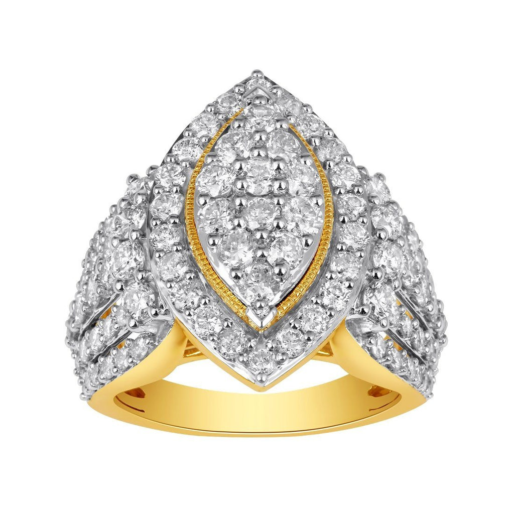 Composite Marquise Shape Ring with 3.00ct of Diamonds in 9ct Yellow Gold