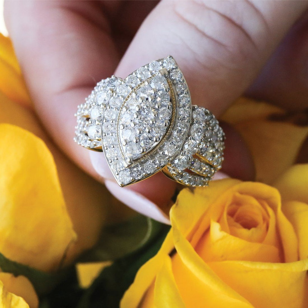 Composite Marquise Shape Ring with 3.00ct of Diamonds in 9ct Yellow Gold Rings Bevilles