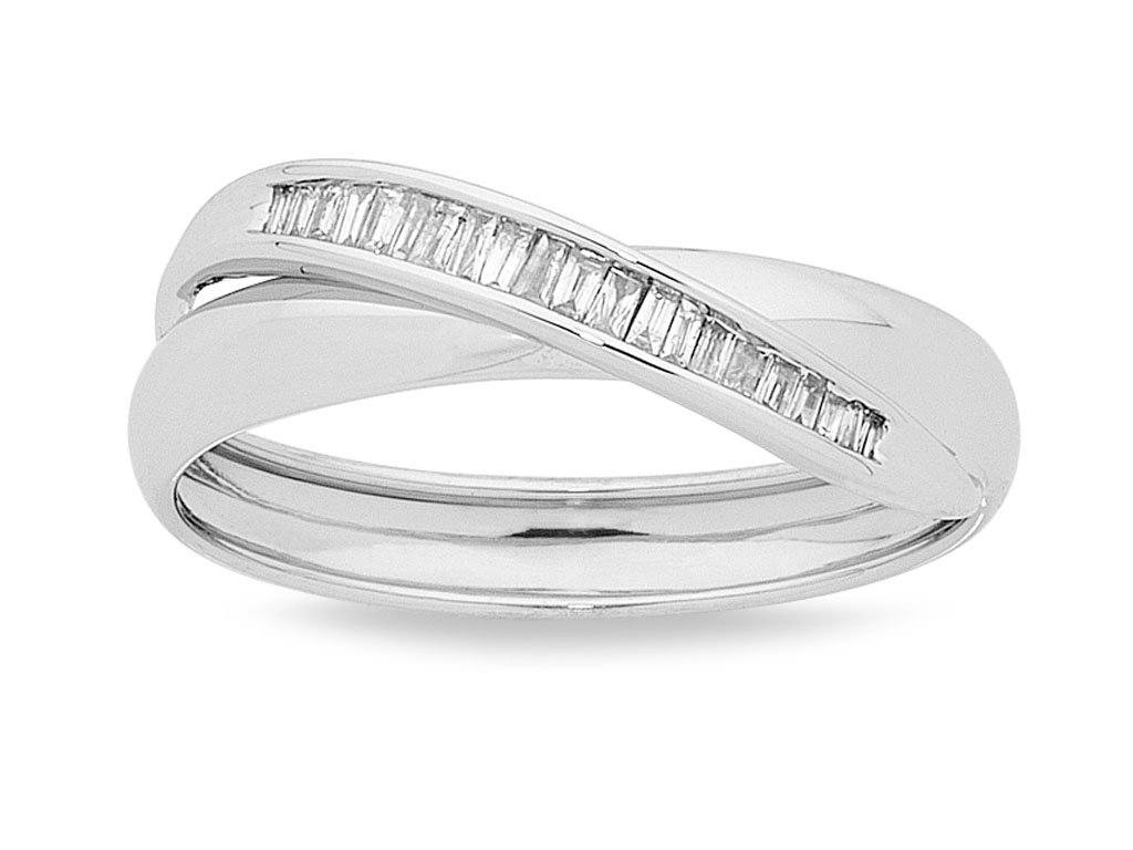 Baguette Set Ring with 0.15ct of Diamonds in 9ct White Gold
