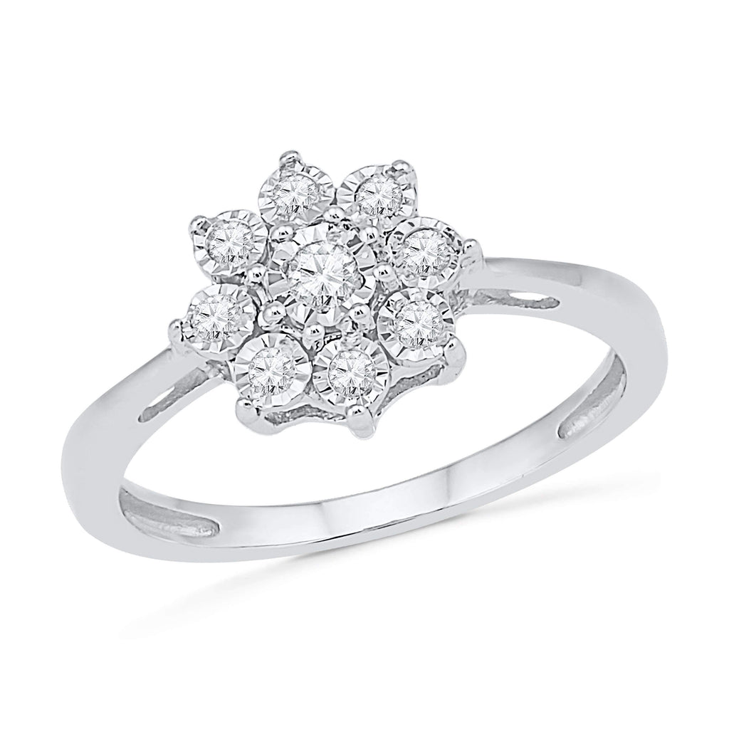 Illusion Flower Ring with 0.15ct of Diamonds in 9ct White Gold Rings Bevilles