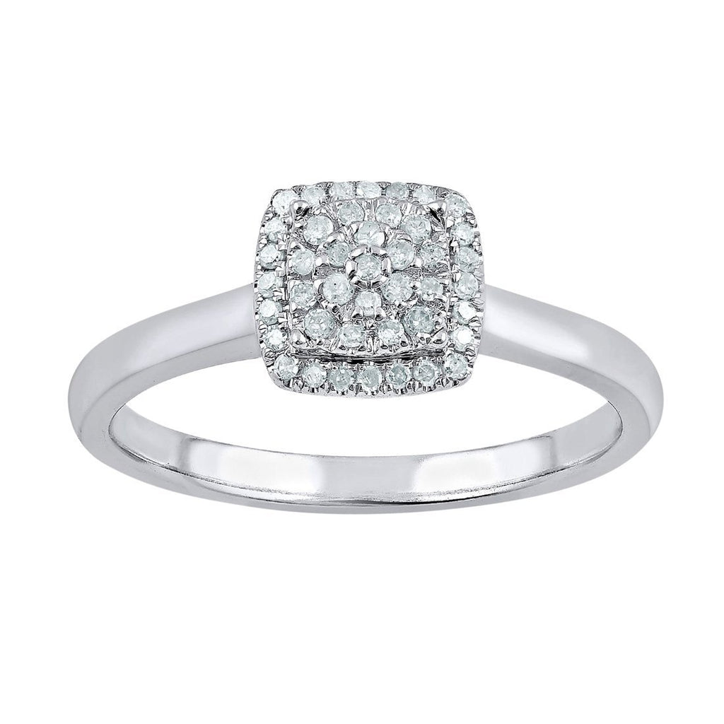 Composite Square Look Ring with 0.15ct of Diamonds in 9ct White Gold Rings Bevilles