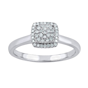Composite Square Look Ring with 0.15ct of Diamonds in 9ct White Gold