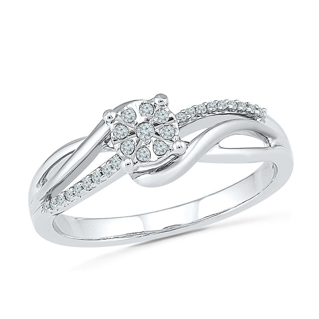 Brilliant Illusion Sweep Ring with 0.10ct of Diamonds in 9ct White Gold Rings Bevilles