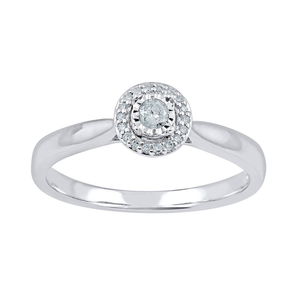 Miracle Halo Ring with 0.10ct of Diamonds in 9ct White Gold Rings Bevilles