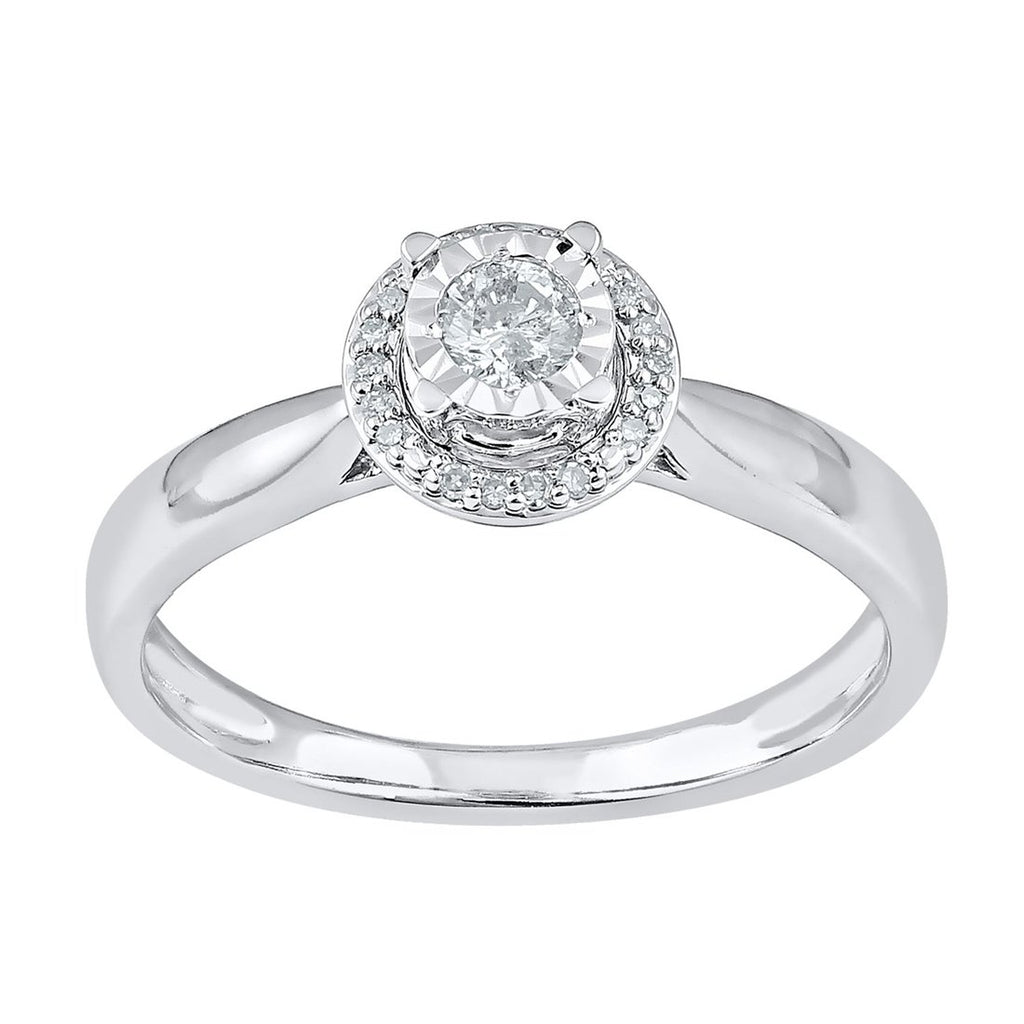 Miracle Plate Halo Ring with 0.15ct of Diamonds in 9ct White Gold