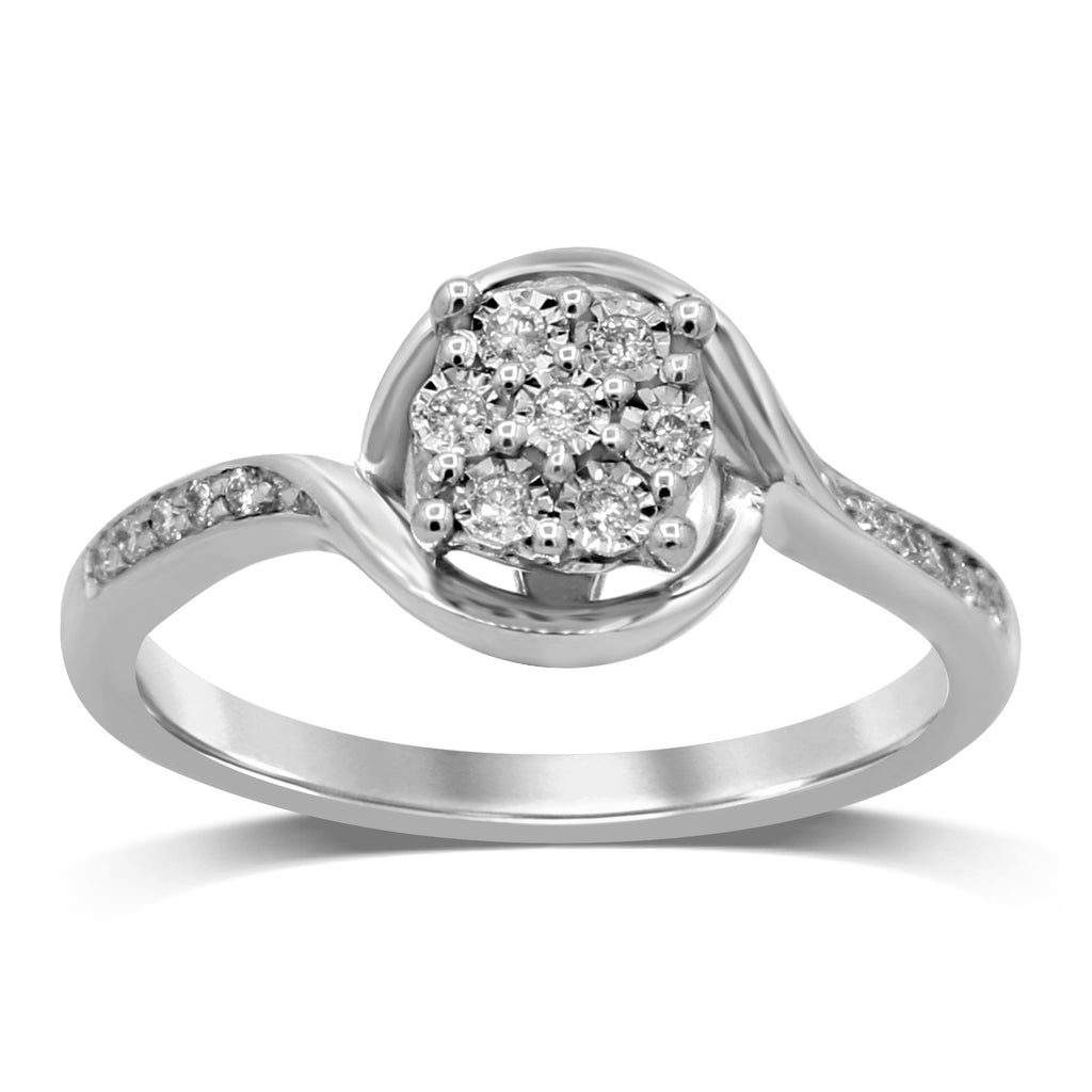 Brilliant Composite Ring with 0.10ct of Diamonds in 9ct White Gold