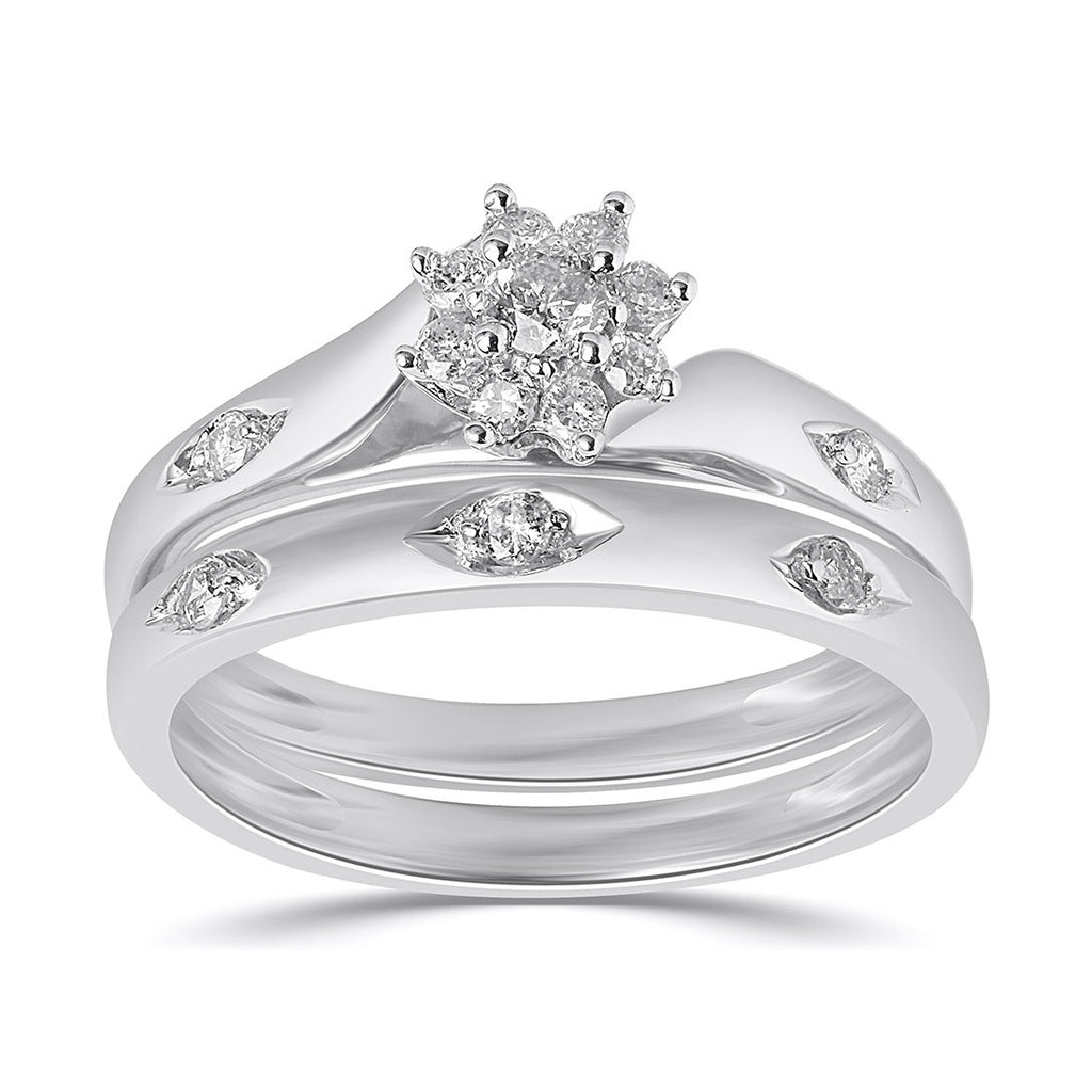 Twin Ring Set with 1/4ct of Diamonds in 9ct White Gold Rings Bevilles