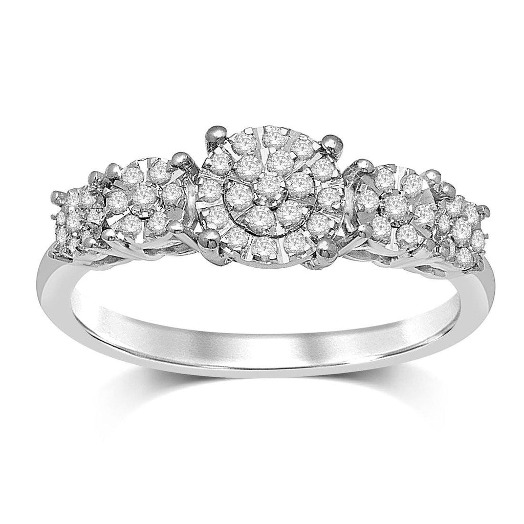 Solitaire Look Dress Ring with 1/4ct of Diamonds in 9ct White Gold Rings Bevilles