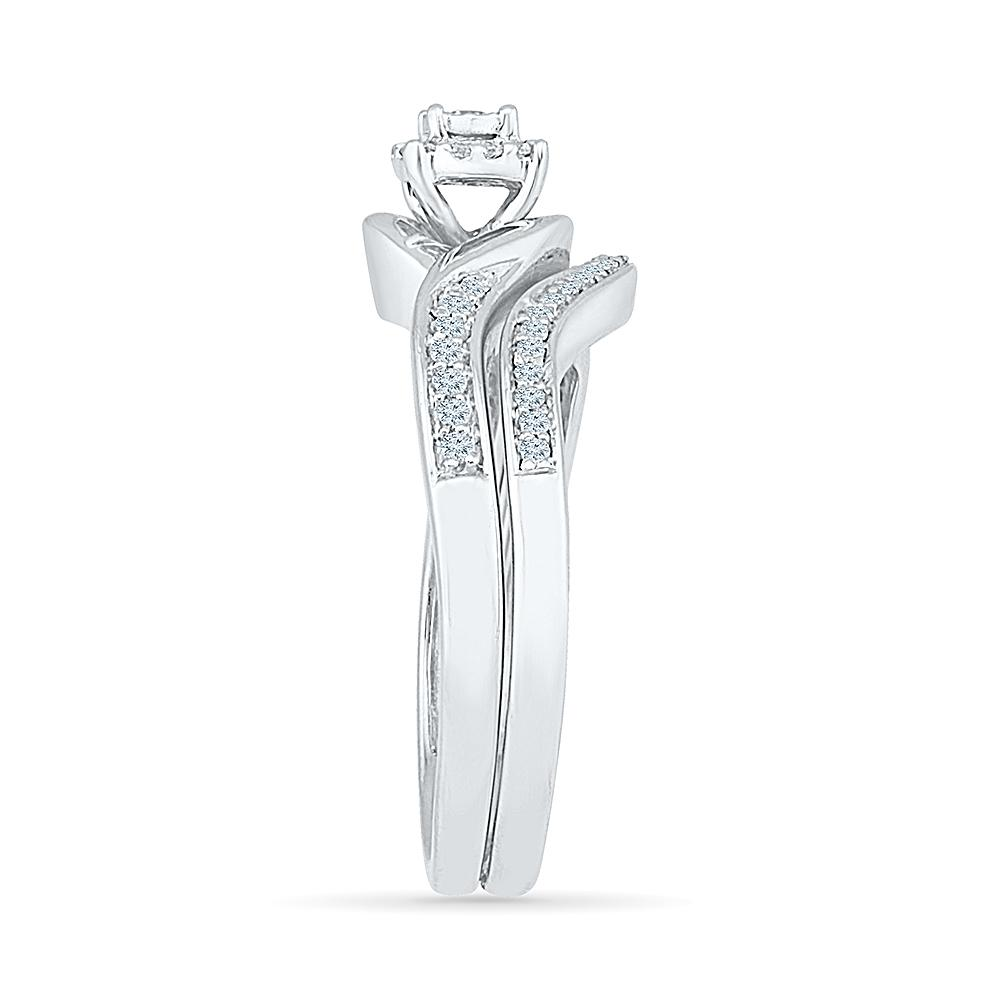 Illusion Solitaire Look Ring with 1/4ct of Diamonds in 9ct White Gold