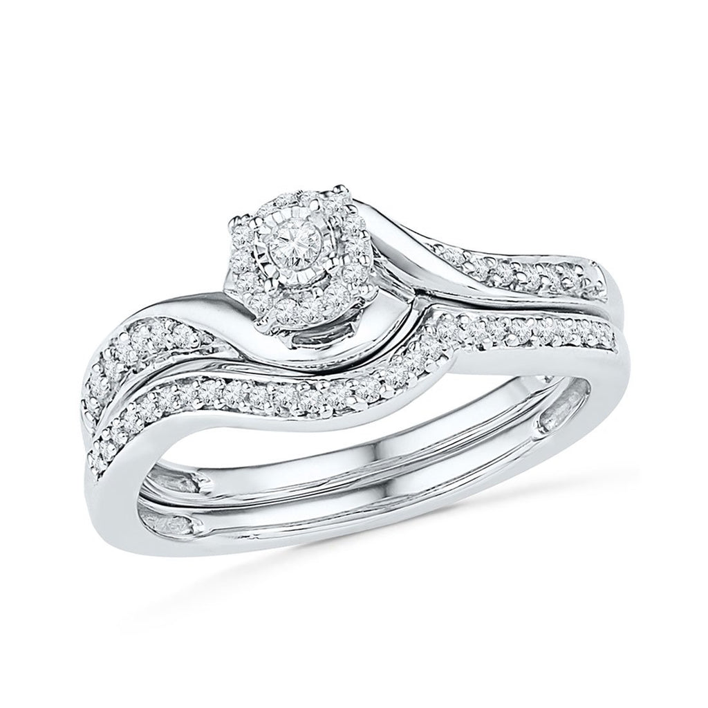Illusion Solitaire Look Ring with 1/4ct of Diamonds in 9ct White Gold Rings Bevilles