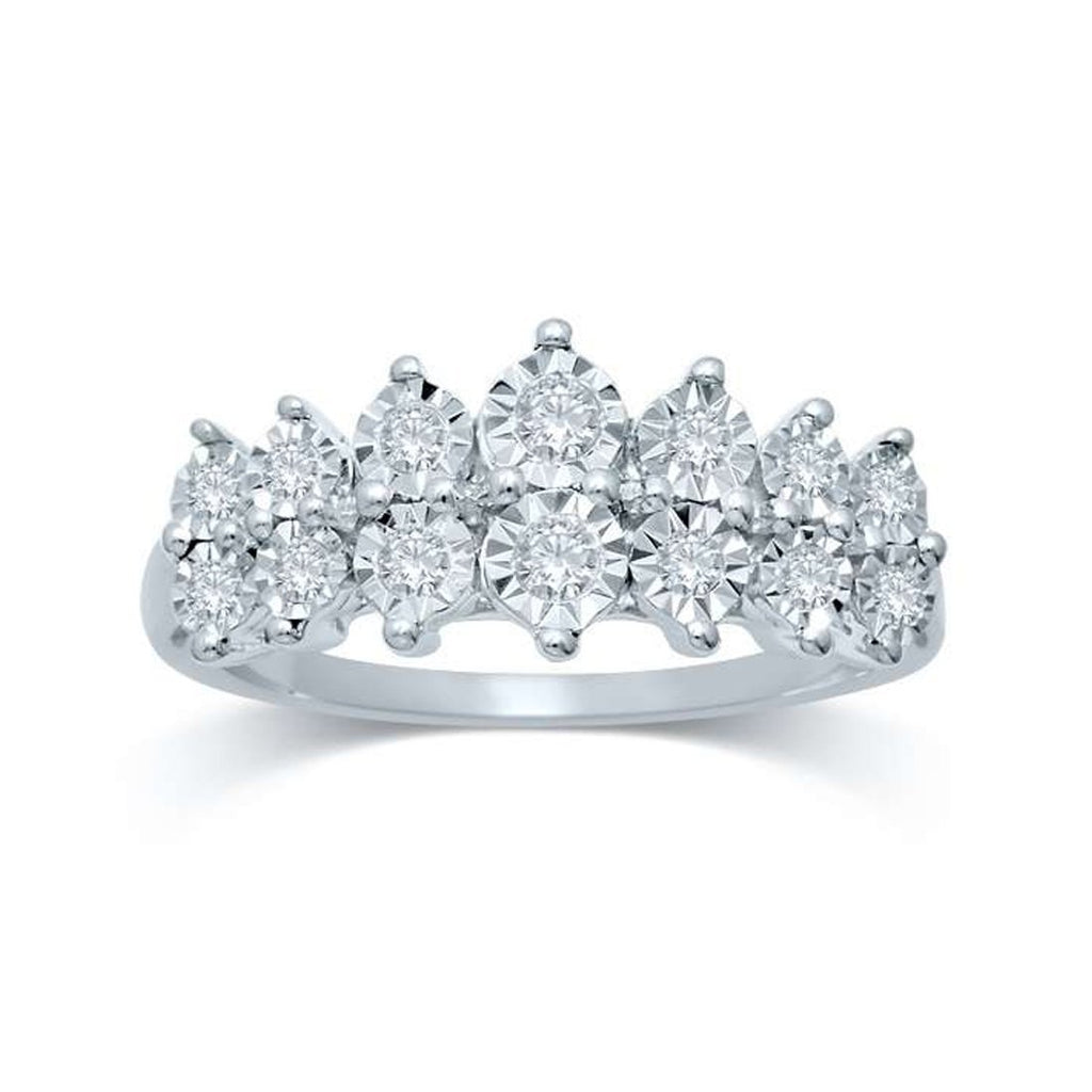 Brilliant Set 2 Row Ring with 1/4ct of Diamonds in 9ct White Gold