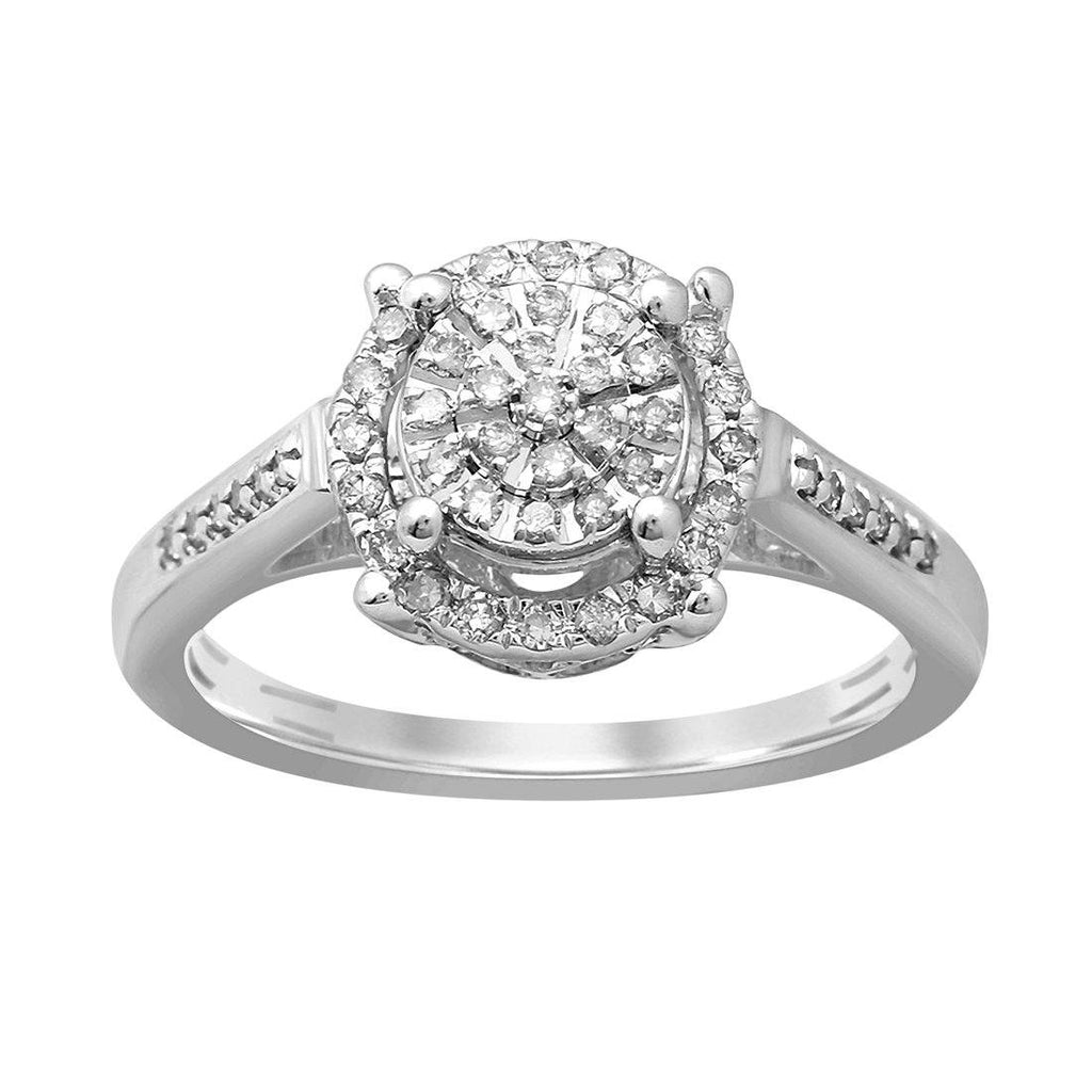Martina Solitaire Look Halo Ring with 1/4ct of Diamonds in 9ct White Gold Rings Bevilles