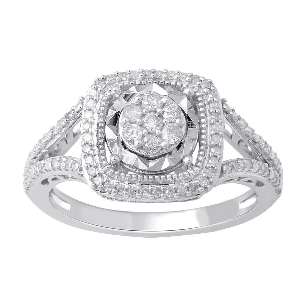 9ct White Gold Miracle Halo Ring with 0.25ct of Diamonds