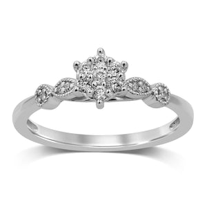 Fancy Shoulder Ring with 0.15ct of Diamonds in 9ct White Gold