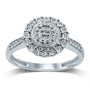Miracle Double Halo Ring with 1/5ct of Diamonds in 9ct White Gold